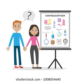 Learning about contraception. Young couple with chart board on white.