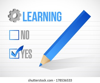 learning check mark illustration design over a white background