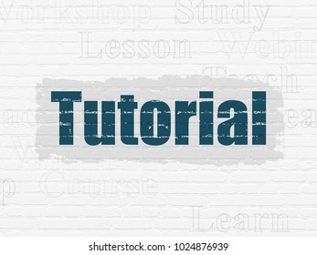 Learning concept: Painted blue text Tutorial on White Brick wall background with  Tag Cloud