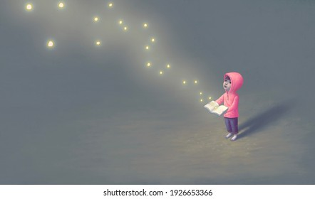 Education learning dream hope and freedom concept, Boy with  imagination book of fireflies. surreal painting. Fantasy art, Fantasy conceptual artwork, happiness of child , 3d illustration