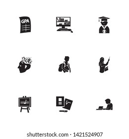 Learning icon set and music class with teacher woman, best student and self study. University related learning icon  for web UI logo design.