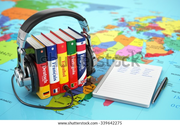 Learning Languages Online Audiobooks Concept Books Stock