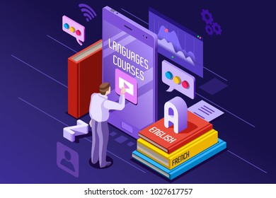 Learning from textbook this is a foreign concept illustration. e-learning and teaching theme. Student in front of gadget near textbooks and English abc alphabet. 3d isometric flat design.