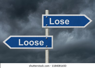 Learning to use proper grammar, Blue road sign with words Lose Loose with stormy sky background 3D Illustration