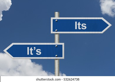 Learning to use proper grammar, Blue road sign with words Its It's with sky background 3D Illustration