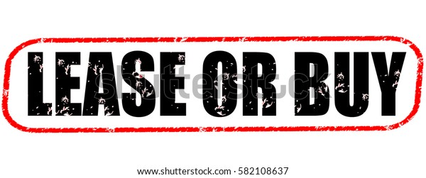 lease or buy red and black stamp on white background.