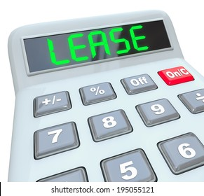 Lease word calculator display digital letters comparing price cost savings leasing vs buying