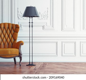 leather armchair in the classic interior. 3d concept