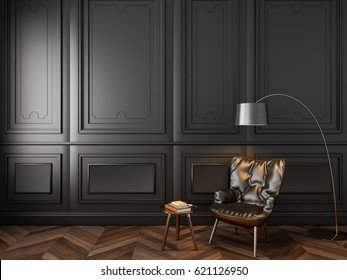 Leather armchair coffee table and floor lamp in classic black interior. 3d render illustration