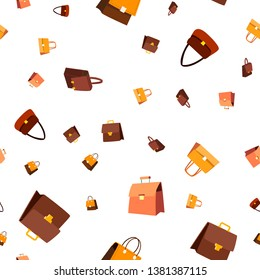 Leather Bag Seamless Pattern . Fashion Accessory. Elegance Style. Cute Graphic Texture. Textile Backdrop. Colorful Background Illustration