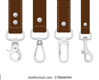 Leather belts with carabine clasp collection . Hook accessory for link illustration