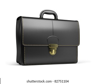 Leather briefcase black. 3d image. Isolated white background.