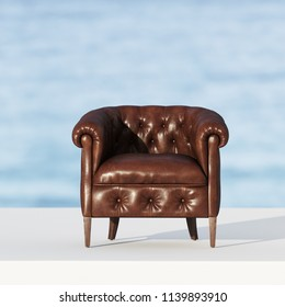 Leather classic vintage armchair in sunset rays 3D render