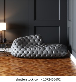 Leather design sofa in classic interior 3D render