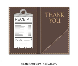 Leather folder for cash, coins and cashier check. Thanks for the service in the restaurant. Money for servicing. Good feedback about the waiter. Gratuity concept. illustration in flat style