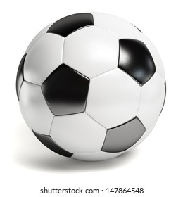 Leather football. Single soccer ball isolated on white background