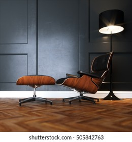 Leather lounge chair in new black interior with wooden parquet floor and floor lamp version 1