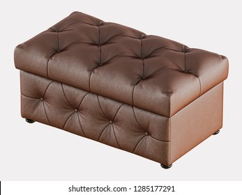 Leather pouf capitone on a white background 3d rendering