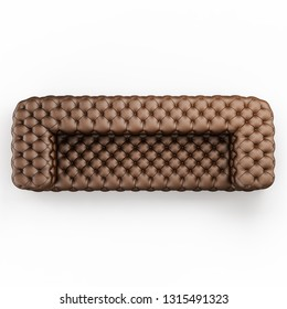 Leather sofa capitone on a white background top view 3d rendering