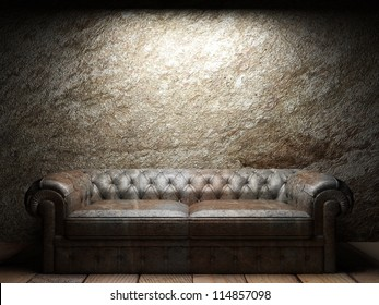 leather sofa in dark room