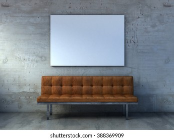 leather sofa, mock up poster, waiting room, 3d render illustration