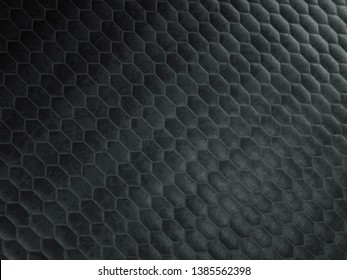 Leather stitched hexagon or honecomb black shiny texture or background with bumps. 3d render, 3d illustration