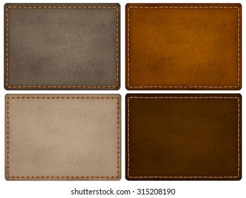 Leather texture labels in assortment