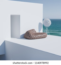 Leather tufted sofa and floor lamp on white minimalist exterior with ocean background 3D render