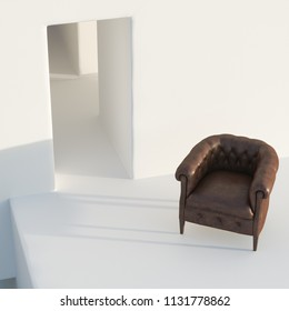 Leather vintage armchair on white minimalism exterior background 3 d render