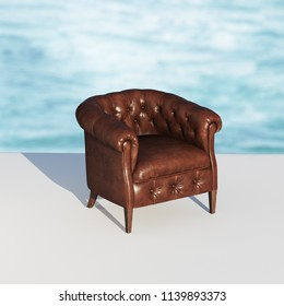 Leather vintage armchair in sunset rays 3D render