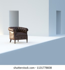 Leather vintage armchair in white abstract interior 3D render