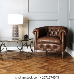 Leather vintage furniture in classic interior with wooden parquet floor 3d render