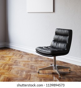 Leather vintage office chair in white classic interior 3D render