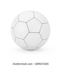 Leather White Football Soccer Ball in Clay Style on a white background. 3d Rendering