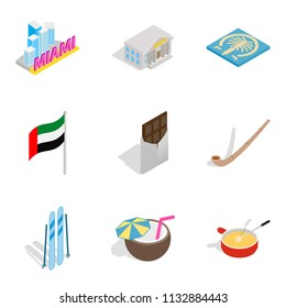 Leave of absence icons set. Isometric set of 9 leave of absence icons for web isolated on white background