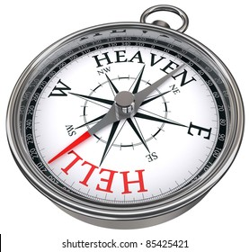 leave road to hell going towards heaven way concept compass isolated on white background