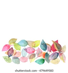 Leaves background. Autumn card. Watercolor design border with leaves. Decorative floral border.