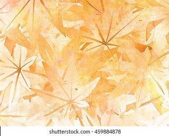 Leaves background in painting watercolor style - abstract autumn pattern