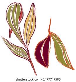 leaves digital illustration artsy style