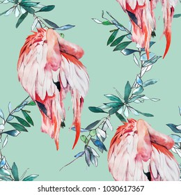 Leaves and flamingos watercolor illustration pattern