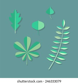 Leaves in Flat style.