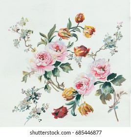 Leaves and flowers of art design