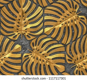 Leaves monstera of gold metal on gray concrete background. High quality seamless realistic texture.