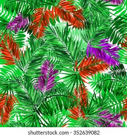 Leaves pattern seamless with green, red palm leaf on a white background. Colorful palms  background. Watercolor painting. Foliage green background.