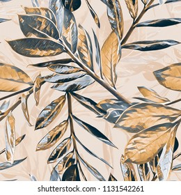 Leaves seamless pattern. Watercolor illustration.