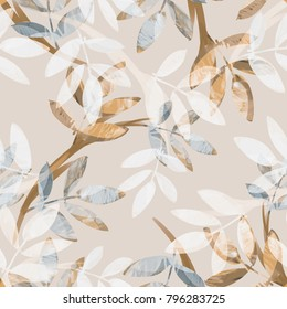 Leaves Seamless Pattern. Watercolor Illustration. Nature Background.