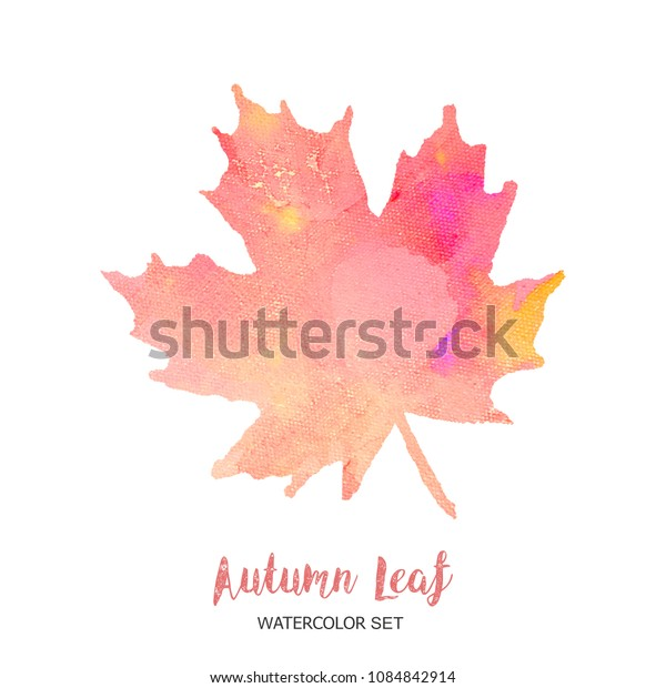 leaves watercolor maple fall leaf isolated white background.illustration sketch painting graphic golden decoration autumn bright red hand drawn paint art  brush watercolour silhouette brich modern.