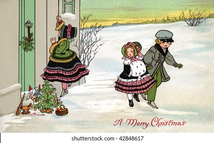 Leaving Christmas gifts on the doorstep of a home on Christmas Eve s- a 1912 Vintage Greeting Card Illustration