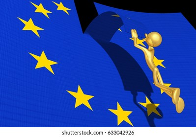 Leaving The European Union With The Original 3D Character Illustration