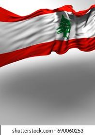 Lebanese Flag, Lebanon Colors (3D Render)